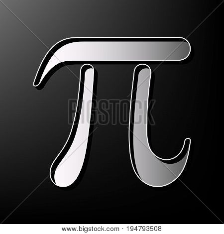 Pi greek letter sign. Vector. Gray 3d printed icon on black background.