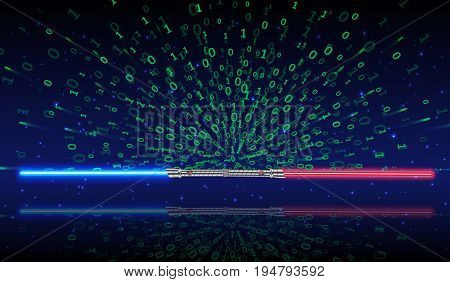 Light swords with green Binary code, vector illustration.