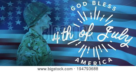 Side view of confident soldier in uniform standing against digitally generated image of happy 4th of july message