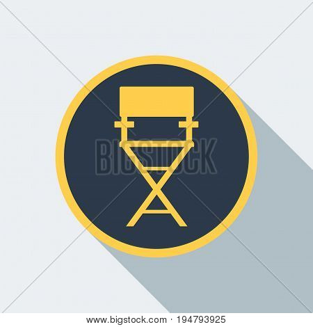 Film directors chair isolated. Work on the set of the film. Flat vector cartoon illustration. Objects isolated on a white background.