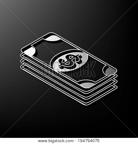 Bank Note dollar sign. Vector. Gray 3d printed icon on black background.