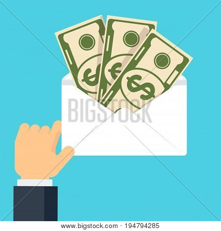 Hand holding envelop with money. Symbol of wealth, success and good luck. Bank and Finance. Flat vector cartoon illustration. Objects isolated on a white background.