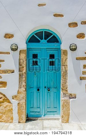 A traditional door on the cyclades islands