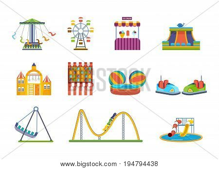 Set of fairground games, kids playgrounds and relaxing amusement park. Carousels, swings, sweets, slides. Vector illustration on white background.