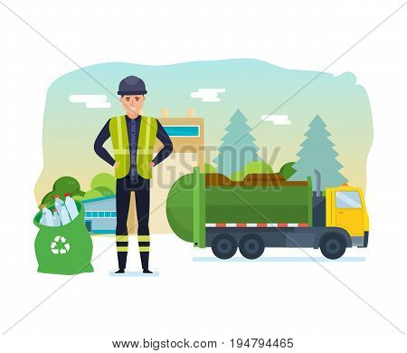 Worker collect garbage in a garbage truck to take him out of the city. Cleaning city. Household waste, recycling. Recycling of industrial waste. Vector Illustration isolated in cartoon style.
