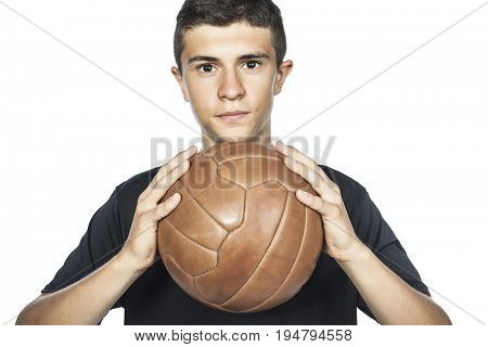 portrait of young soccer player isolated on white