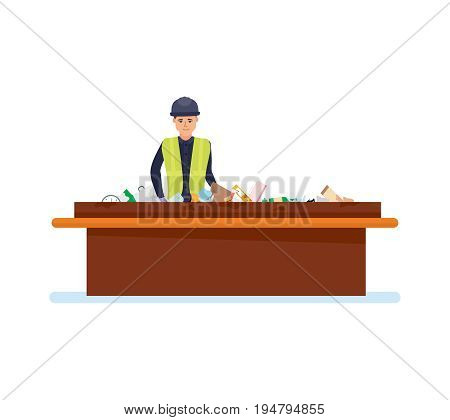 Worker sorts out trash on the conveyor, sorts by type of garbage, for further processing of household waste. Cleaning city. Recycling of industrial waste. Illustration isolated in cartoon style.