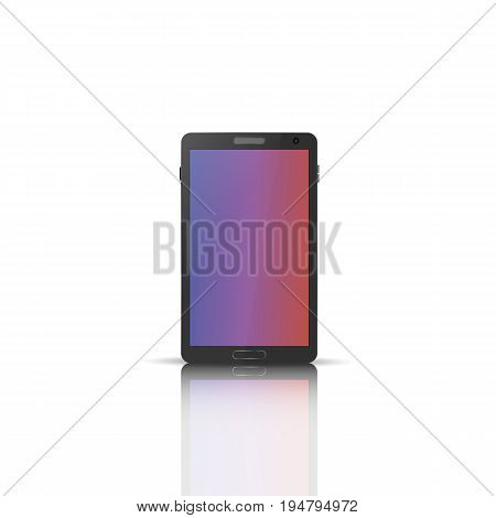 Photorealistic mobile phone with a mirror reflection isolated on white background. Front side. Element for design of digital devices vector illustration.