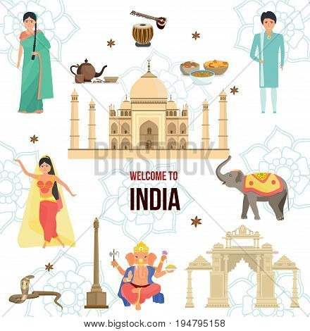 Welcome to India. Worldwide air traveling, time to travel, discover historical architecture concept, eating, drinks, culture, tradition. Landmark India. Illustration isolated in cartoon style.