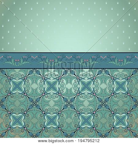 Vector background. Floral vintage pattern and border. Beautiful fantasy flowers with leaves and berries.