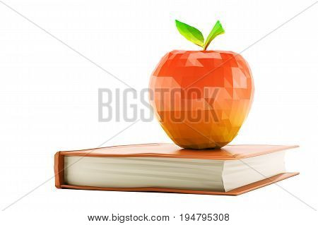 Low poly red apple placed on book isolated on white background. 3d rendering