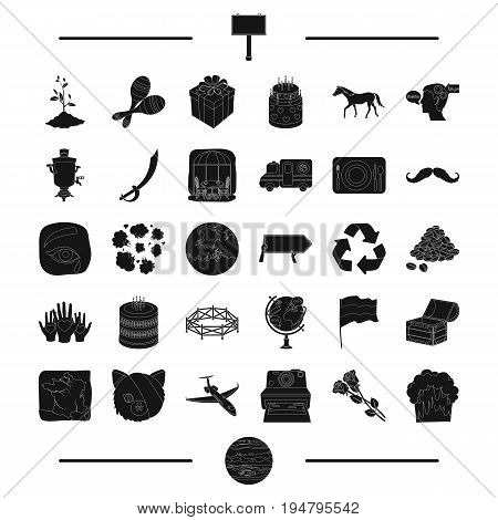 animal, travel, ecology and other  icon in black style.advertising, horse racing icons in set collection.