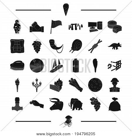 food, travel, England and other  icon in black style. parking, animal icons in set collection.