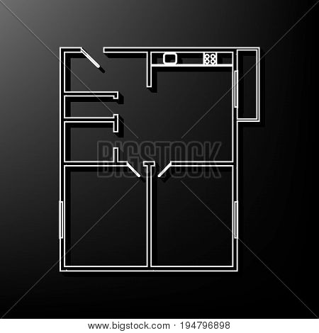 Apartment house floor plans. Vector. Gray 3d printed icon on black background.