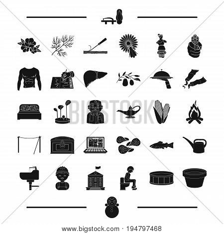 Food, profession and other  icon in black style. golf, japan, man, tool icons in set collection.