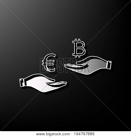 Currency exchange from hand to hand. Euro an Bitcoin. Vector. Gray 3d printed icon on black background.