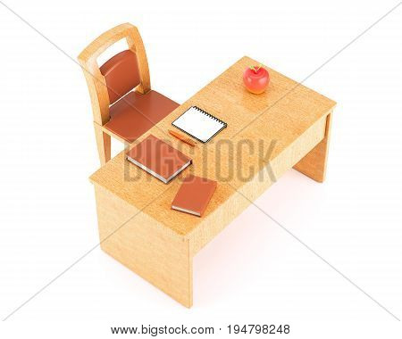 Teacher table with a chair books notebook and pen isolated on white background. 3d rendering