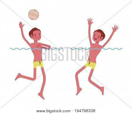 Young slim man playing water polo, swimming trunks, tanned complexion, enjoying summer activity, splashing in the water, having fun. Vector flat style cartoon illustration, isolated, white background
