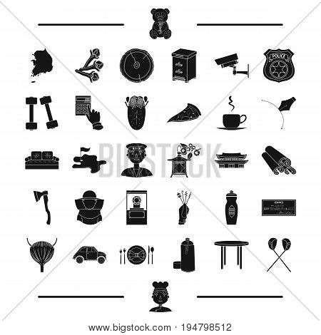 car, table and other  icon in black style.stick, cook icons in set collection.