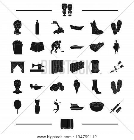 diabetes, agriculture, transport and other  icon in black style.atelier, shoes, wedding, food icons in set collection.