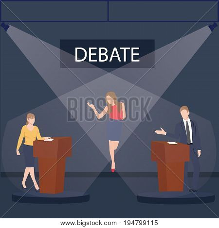 two politician debate on stage podium public speaking contest presentation with moderator between them vector