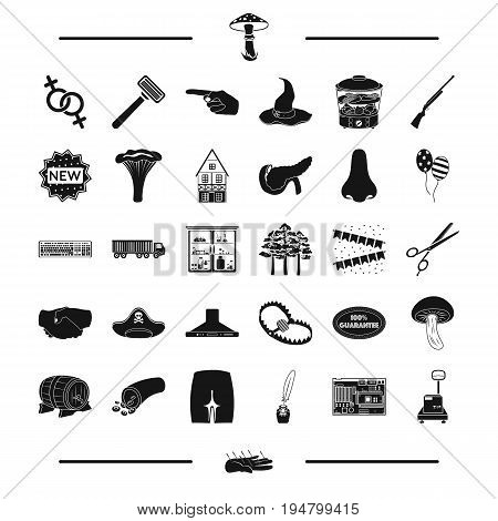 mushrooms, medicine, organs and other  icon in black style.computer, equipment, person icons in set collection.