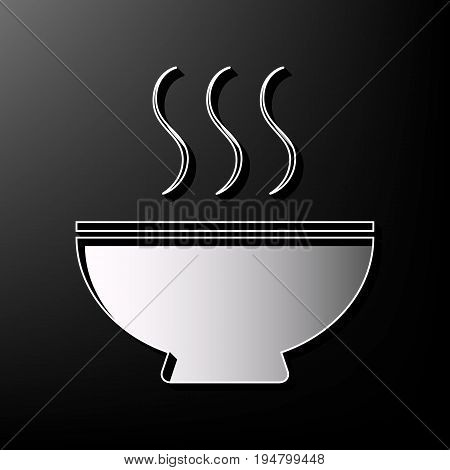 Soup sign. Vector. Gray 3d printed icon on black background.