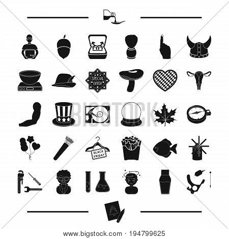 Body, body and other  icon in black style. food, computer, tool icons in set collection.