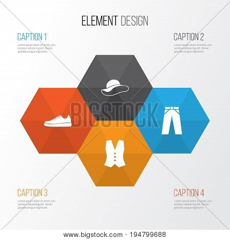 Clothes Icons Set. Collection Of Elegant Headgear, Waistcoat, Sneakers And Other Elements. Also Includes Symbols Such As Trousers, Waistcoat, Headgear.