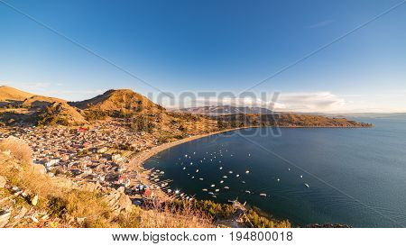 Panoramic view of Copacabana Bay on Titicaca Lake from the summit of Mount Calvario (3966 m) among the most important travel destination in Bolivia.