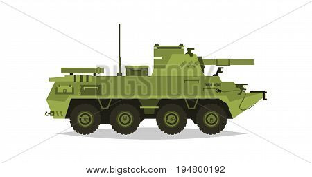 Self-propelled artillery unit. Research, inspection, optical review, rockets, shells. Equipment for the war. All Terrain Vehicle, heavy machinery. Vector illustration