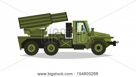 Multiple launch rocket systems. Rockets and shells. Military truck. Equipment for the war. All Terrain Vehicle, heavy machinery. Vector illustration.