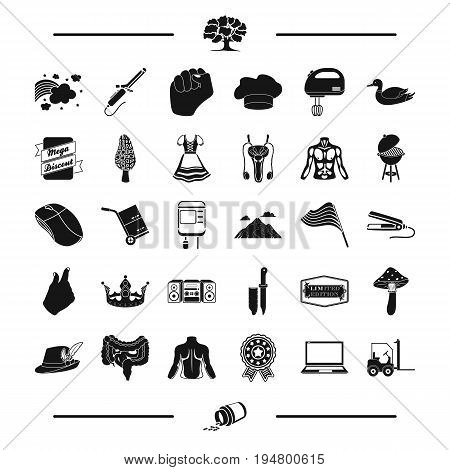 medicine, leisure and other  icon in black style. travel, computer icons in set collection.