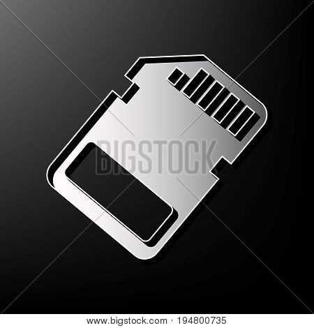 Memory card sign. Vector. Gray 3d printed icon on black background.
