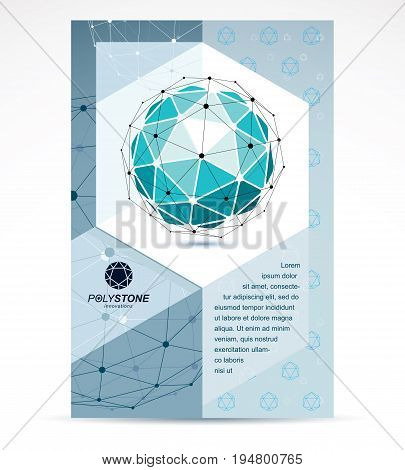 Digital technologies company advertising flyer. Abstract blue isometric construction low poly vector.