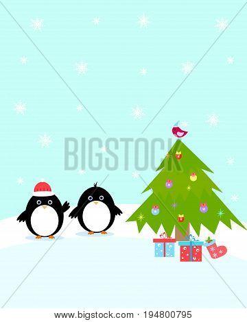 postcard penguin christmas tree, mitten, winter, berry