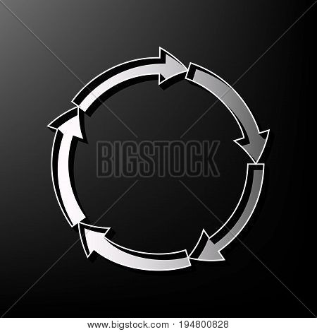 Circular arrows sign. Vector. Gray 3d printed icon on black background.