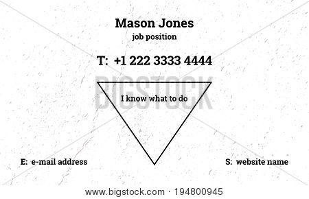 Trendy business card template with grunge texture. Scratch and rough dust. Fashionable inverted triangle. Black, gray and white colors. US standard size 3.5x2 in. With bleed size 0.125 in. Vector.