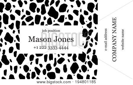Black and white business card template. Strict minimalist style. Creative spots on the background. US standard size 3.5x2 in. With bleed size 0.125 in. Vector. Animal print.