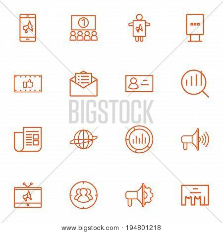 Set Of 16 Trade Outline Icons Set.Collection Of Brand Awareness, Direct Message, Worker Elements.