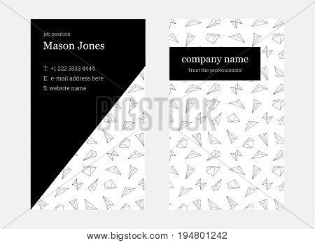 White and pink double-sided business card template. US standard size 2x3.5 in. With bleed size 0.125 in. Vector. Minimal and light style. The abstract creative concept with geometric shape pattern.