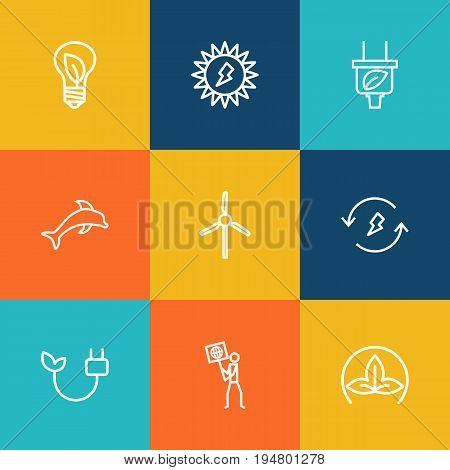 Set Of 9 Ecology Outline Icons Set.Collection Of Ecologist, Plug, Wind Turbine And Other Elements.