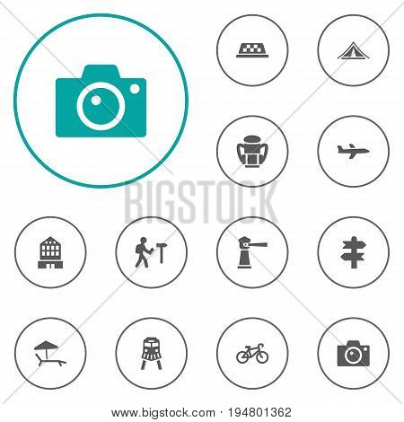 Set Of 12 Relax Icons Set.Collection Of Booth, Seamark, Traveler And Other Elements.