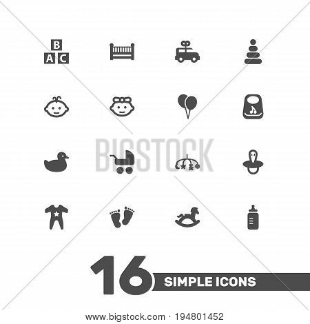 Set Of 16 Baby Icons Set.Collection Of Milk, Decoration, Teat And Other Elements.