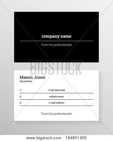 Double-sided business card template. Information on the black lines on white background. Black cover. Trust the professionals slogan. US standard size 3.5x2 in. With bleed size 0.125 in. Vector.