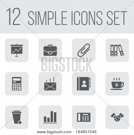 Set Of 12 Cabinet Icons Set.Collection Of File Folder, Handshake, Presentation Elements.