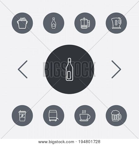 Set Of 9 Drinks Outline Icons Set.Collection Of Beer, Champagne, Hot Drink And Other Elements.
