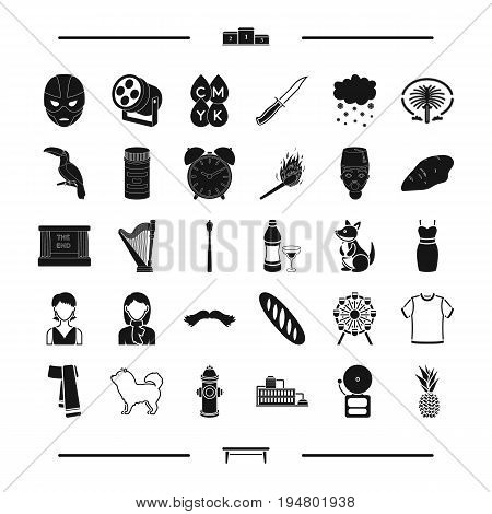 appearance, clothing and other  icon in black style. animal, food icons in set collection.
