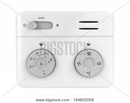 Air conditioner control panel (thermostat) isolated on white background, 3D illustration