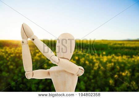 Wooden figurine standing with both the hands joined against scenic view of beautiful mustard field